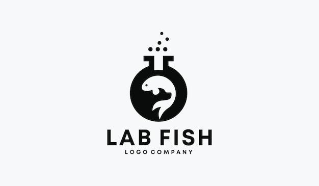 Design perfetto del logo del pesce da laboratorio