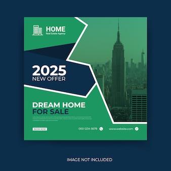 Modello di banner di copertina facebook per la vendita di casa perfetta e moderna per società immobiliare