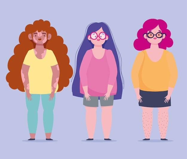 Giovani donne perfettamente imperfette, corporatura più taglia e pelle problematica