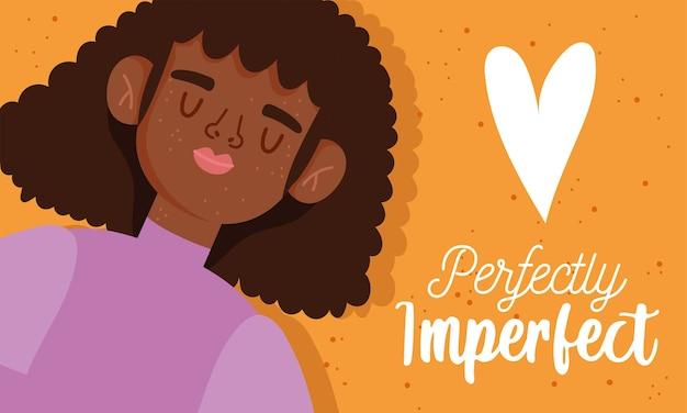 Perfettamente imperfetta, donna afroamericana dei cartoni animati con le lenticchie sul viso