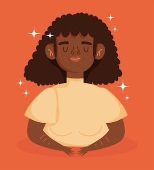Perfettamente imperfetta, donna afro-americana dei cartoni animati con la malattia della vitiligine