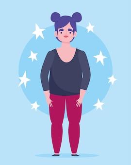Perfettamente imperfetto, personaggio dei cartoni animati donna in piedi