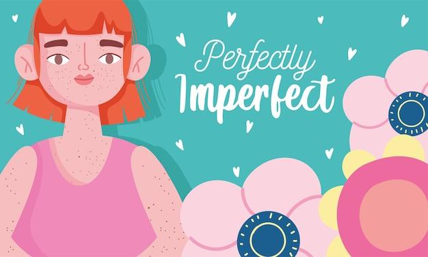 Perfettamente imperfetta, donna fumetto con le lentiggini sul corpo, carta motivazionale