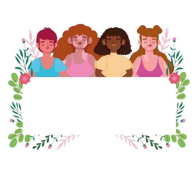 Perfettamente imperfette, donne di gruppo diversificato, banner bianco e illustrazione di decorazioni floreali