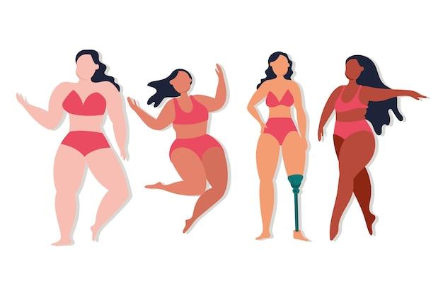 Gruppo perfettamente imperfetto di disegno di illustrazione vettoriale di ragazze diverse