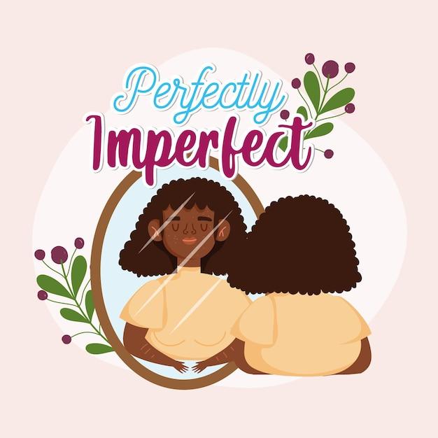 Donna afroamericana perfettamente imperfetta della donna con le lentiggini osserva nell'illustrazione dello specchio