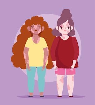 Perfettamente imperfetto, giovani donne cartoon con pelle di malattia della vitiligine