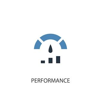 Concetto di prestazioni 2 icona colorata. illustrazione semplice dell'elemento blu. design del simbolo del concetto di prestazione. può essere utilizzato per ui/ux mobile e web