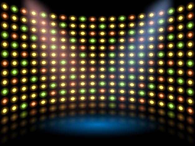 Fase di spettacolo con parete sullo sfondo incandescente della lampadina. sfondo astratto