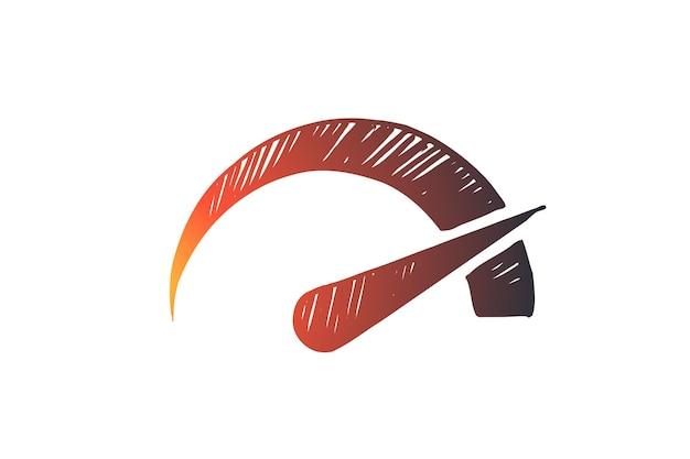 Prestazioni, simbolo, velocità, indicatore, concetto di potenza. simbolo disegnato a mano dello schizzo del concetto di misurazione delle prestazioni.
