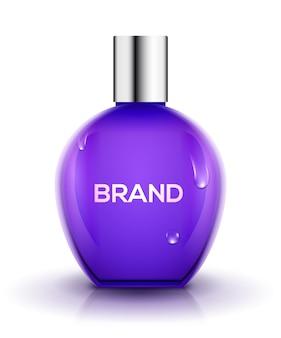 Bottiglia di profumo in vetro di design. cura femminile del contenitore di vettore cosmetico di bellezza. progettazione del prodotto di profumo.
