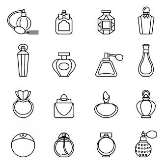 Set di icone di bottiglia di profumo. stock vettoriale sottile linea stile.