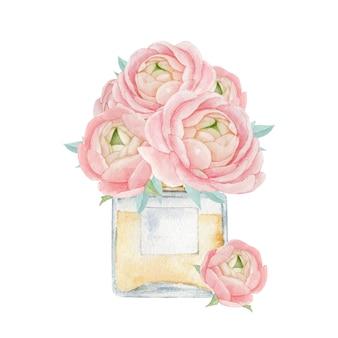 Bottiglia di profumo con un mazzo di fiori illustrazione perfetta per il design di stampa e decorazioni per la casa