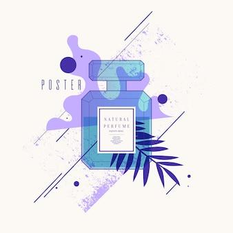 Bottiglia di profumo con motivo geometrico luminoso poster moderno per la pubblicità e la vendita di fragranze