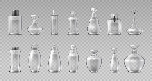 Bottiglie di profumo. contenitori in vetro 3d realistici per acqua profumata, flacone spray cosmetico aromatico. fiala di cristalli lucidi per il trucco del contenitore vettoriale impostata su sfondo trasparente