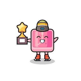 Il fumetto del profumo come un giocatore di pattinaggio sul ghiaccio tiene il trofeo del vincitore, un design in stile carino per t-shirt, adesivo, elemento logo