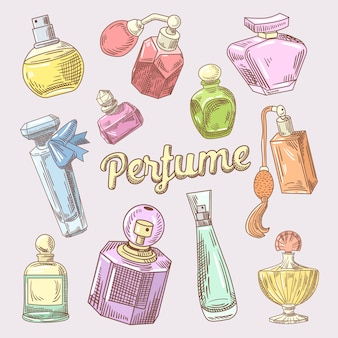 Doodle disegnato a mano di profumi e cosmetici con bottiglie diverse