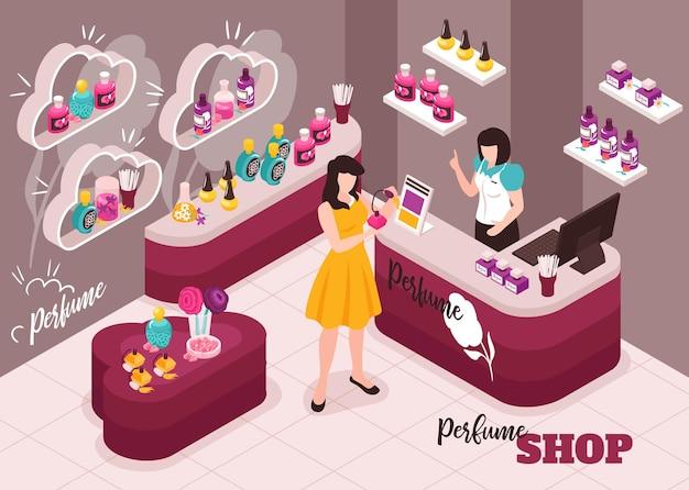 Illustrazione isometrica interna del negozio di trucco di bellezza di lusso dei cosmetici del profumo