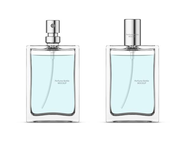 Flacone di profumo in vetro mockup flaconi cosmetici in bianco modello pacchetto design realistico vettore