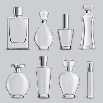 Set realistico di bottiglie di vetro di profumo