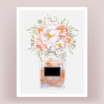 Profumo con peonie pesca e illustrazione dell'acquerello di fiori bianchi