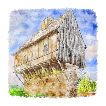 Illustrazione disegnata a mano di schizzo dell'acquerello di perigueux francia