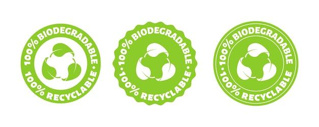 Persent biodegradabile riciclare timbro vettore plastica riutilizzabile pacchetto bio logo icona set segno eco