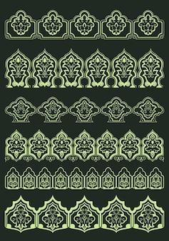 Bordi floreali ornamentali persiani con fiori lussureggianti astratti ed elementi decorativi orientali tradizionali per la progettazione di testo o pagina