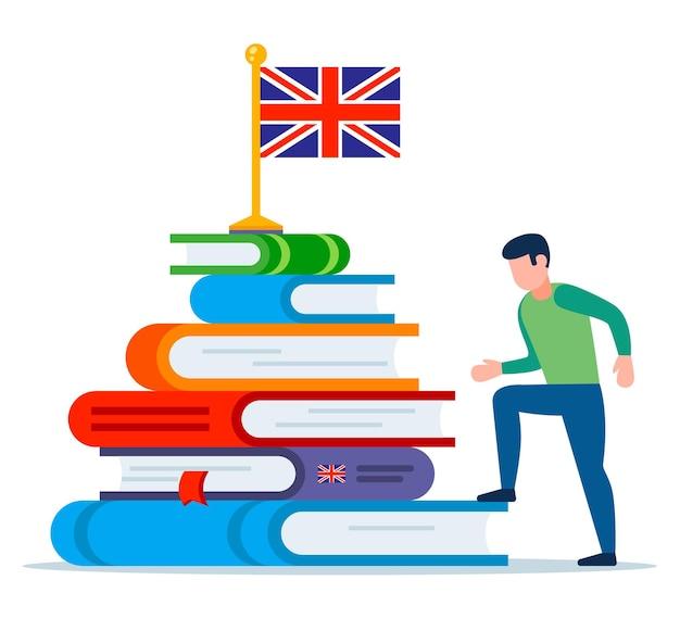 Una persona inizia a imparare l'inglese. montagna dai libri di testo. piatto