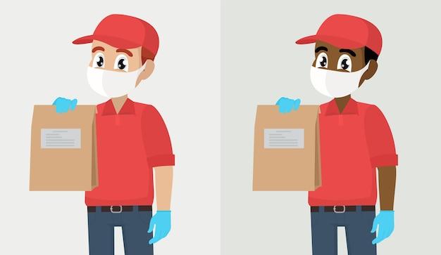 Persona che trasporta o che dà il sacchetto di carta fattorino o corriere in guanti di maschera medica di sicurezza che tengono pacco di pacchi