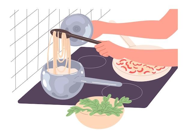 Una persona cucina il cibo a casa, cucina gli spaghetti.