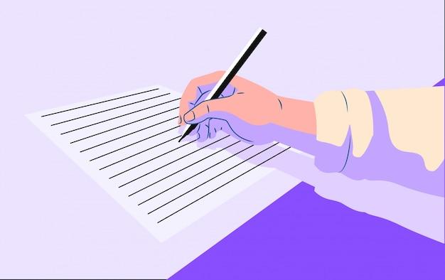 La persona tiene la penna e scrive nel foglio bianco