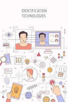 Modello dell'insegna di vettore di tecnologie di identificazione della persona. riconoscimento facciale, autenticazione vocale e scansione della retina. analisi delle impronte digitali e test del dna. permesso di accesso ai gadget biometrici.