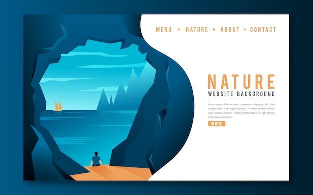 Persona che guarda il mare dalla pagina di destinazione del sito web della grotta