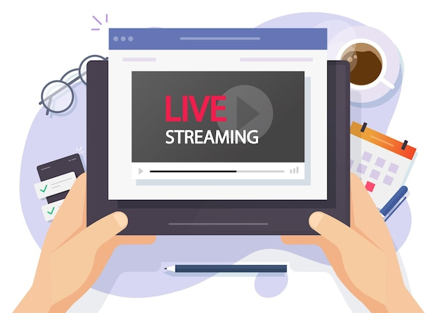 Uomo della persona che guarda lo spettacolo in streaming live video sul fumetto piatto di computer tablet