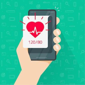 Persona che monitora la frequenza del battito cardiaco e l'app della pressione sanguigna tramite design piatto del telefono cellulare