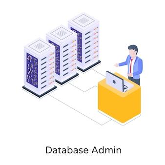 Persona che monitora la sicurezza dei dati del server sull'icona isometrica del laptop