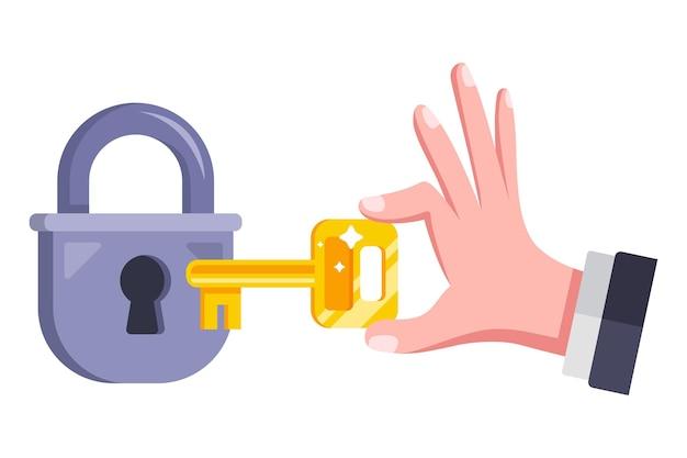 Una persona apre un lucchetto con una chiave. illustrazione vettoriale piatto.