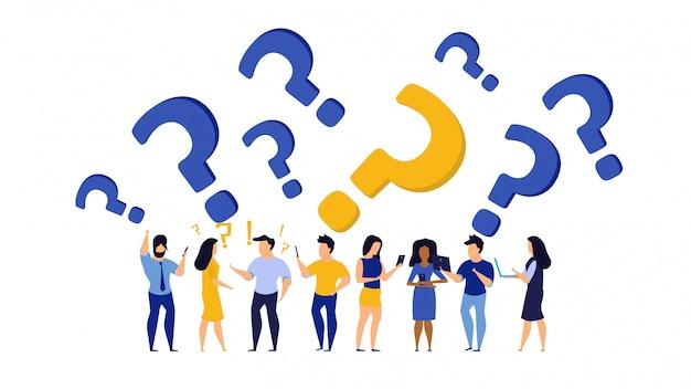 Concetto dell'illustrazione della gente del lavoro dell'icona di domanda della persona.