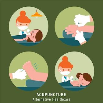 Persona che riceve un trattamento di agopuntura dal medico. illustrazione di assistenza sanitaria alternativa
