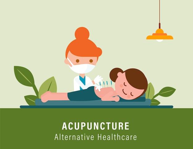 Persona che riceve un trattamento di agopuntura per il dolore alla schiena dal medico. illustrazione di assistenza sanitaria alternativa