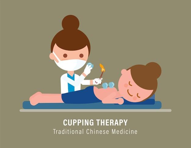 Persona che riceve il trattamento di terapia di coppettazione dal medico. illustrazione della medicina tradizionale cinese