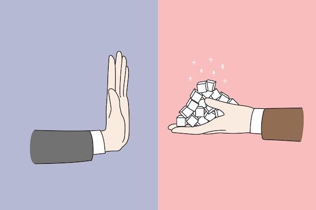 La persona dice no rifiuto dallo zucchero