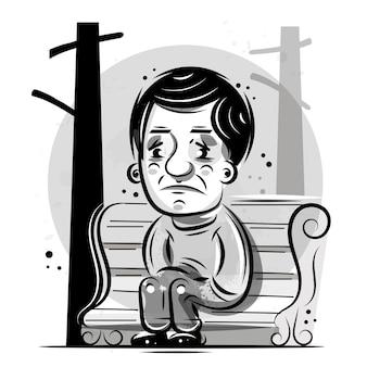 La persona si siede e pensa