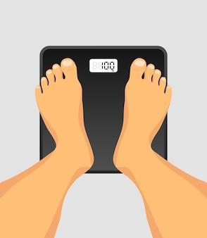 Persona in piedi su una bilancia da pavimento. piedi sulla vista dall'alto della bilancia. bilance da pavimento per la pesatura del peso corporeo. obesità dopo la quarantena a lungo termine. controllo del peso, dieta, aumento o perdita di peso