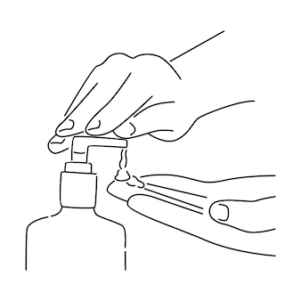 Persona che utilizza un disinfettante per le mani