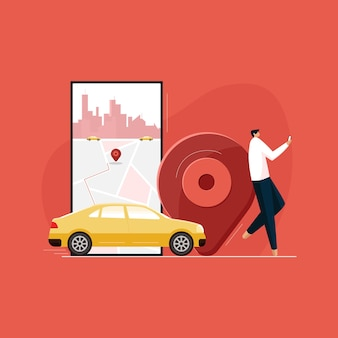 Persona che utilizza l'app di localizzazione ordina un taxi online servizio di trasporto taxi prenotazione di un taxi app mobile