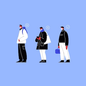 Una persona che indossa una maschera sul mento, una persona che non copre il naso e una persona che indossa una maschera correttamente in fila.