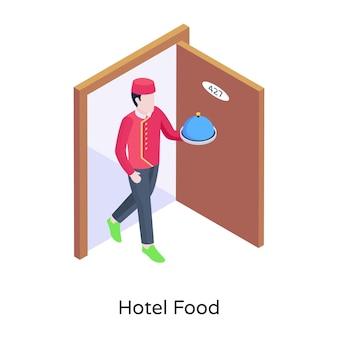 Persona con cloche un'illustrazione isometrica del cibo dell'hotel