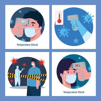 Persona con tuta di disinfezione, con termometro digitale a infrarossi senza contatto, scenografia
